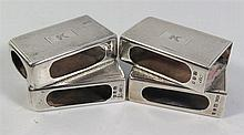 A George VI Set of Four Silver Match Box Holders with engine turned decorat