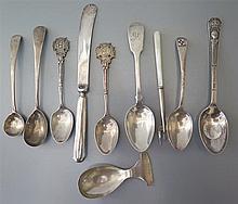 A George V Silver Caddy Spoon, Sheffield 1913, Georgian silver mustard and