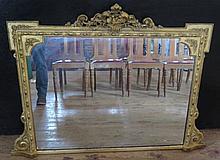 A Victorian Gilt Gesso Overmantle Mirror, 130 x 93 cm