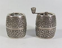 A Cambodian Silver Pepper and Salt