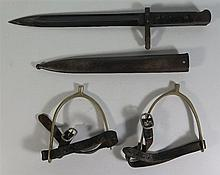 A Pair of Spurs and bayonet with scabbard