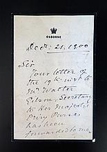 Of Queen Victoria Interest: an Osborne House letter dated Dec 21 1900 deali