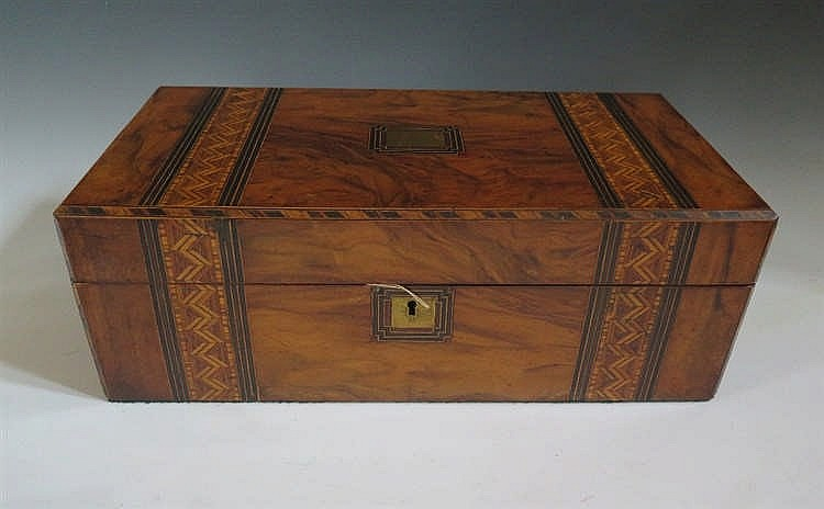 A Large Victorian Walnut and Parquetry Inlaid Writing Slope