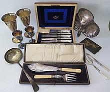 An Unused Cased and Plush Lined Set of Six Mother of Pearl Handled Silver P