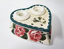 A Wemyss Heart Shaped Twin Inkwell decorated with dog rose, impressed mark