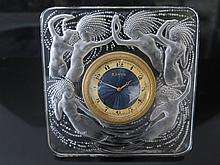 Rene Lalique - A Naiades Strut Clock with original Swiss gilt and blue guil