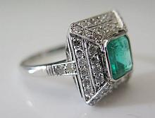 A Columbian Emerald and Diamond Ring with certificate stating 1.62 ct with