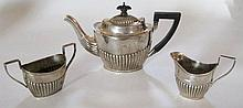 A Victorian Silver Batchelor's Three Piece Tea Set
