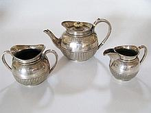 A Victorian Silver Bachelor's Three Part Tea Set