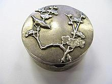 A Chinese Silver Hinged Box decorated to the lid
