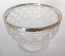 An Edward VII Silver Rimmed Cut Glass Footed Bowl,