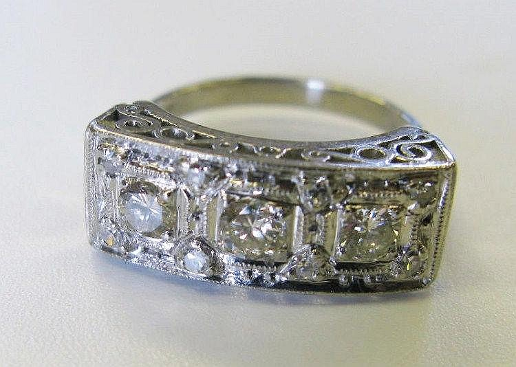 An Art Deco Style Platinum and Diamond Ring, .950