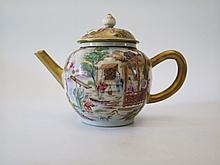 An Eighteenth Century Chinese Porcelain Tea Pot decorated with figures and tea bowl
