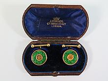 A Pair of Chinese Jadeite and Yellow Gold Cufflinks