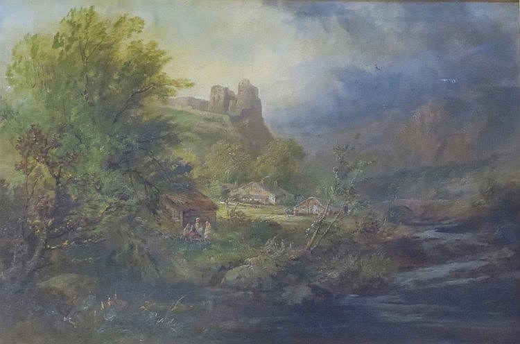 Edward Partridge (d. 1896), View in South Wales Carmarthenshire, signed oil