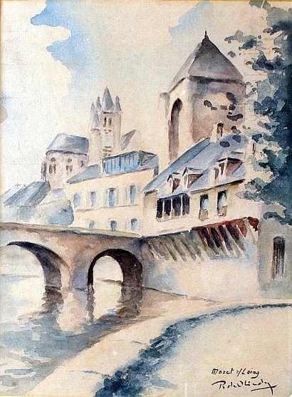 René OLINDA - né à Alger en 1893 VUE DE MORET SUR