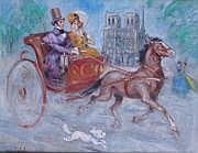 Marcel BLOCH (né en 1884) COUPLE EN CALÈCHE DEVANT