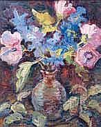 René DEMEURISSE - 1895-1961 VASE D'ANÉMONES Huile