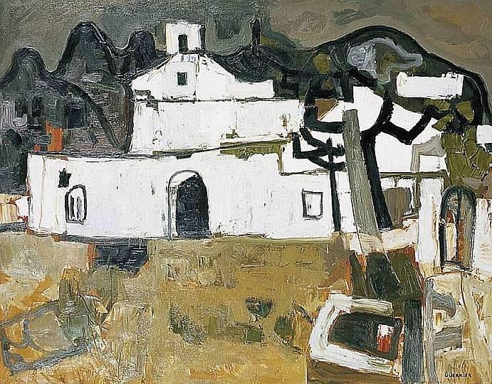GUERRIER Raymond 1920-2002 PETITE ÉGLISE À IBIZA