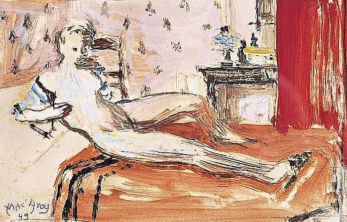 MAC-AVOY Edouard 1905-1991 NU AUX RIDEAUX ROUGES