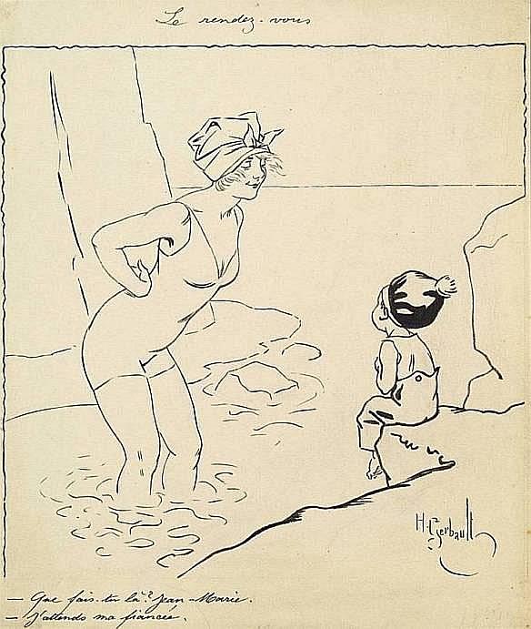 GERBAULT Henri (1863-1930) LE RENDEZ-VOUS Dessin à