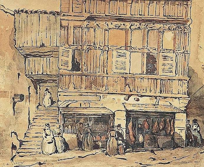 DE GONCOURT Jules (1830-1870) RUE ANIMÉE À MÂCON