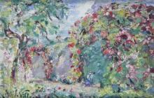 Emmanuel de LA VILLÉON - 1858-1944 LA TONNELLE FLEURIE Huile sur panneau