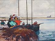 Ernest GUÉRIN - 1887-1952 BRETONNES SUR LA GRÈVE À