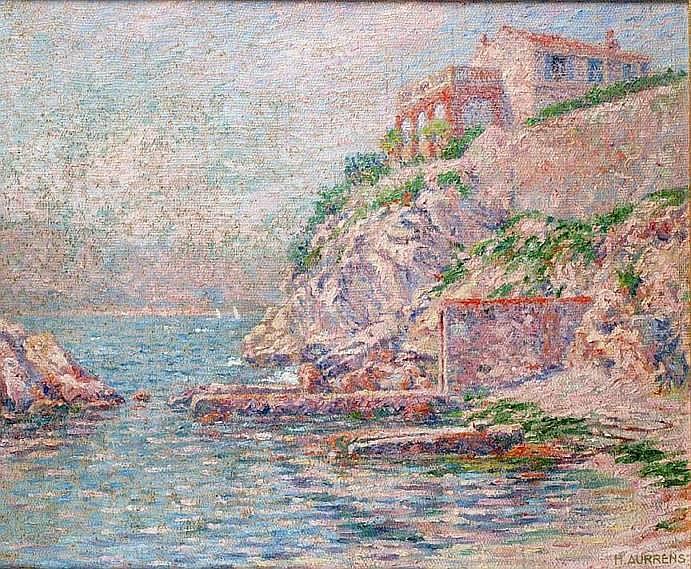AURRENS Henri 1873-1934 VILLA SURPLOMBANT UN