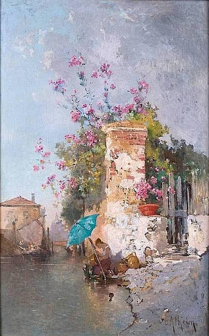 D'ALHEIM Jean 1840-1894 CANAL À VENISE Huile sur