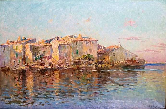 PONCHIN Antoine 1872-1934 LES MARTIGUES 1906 Huile