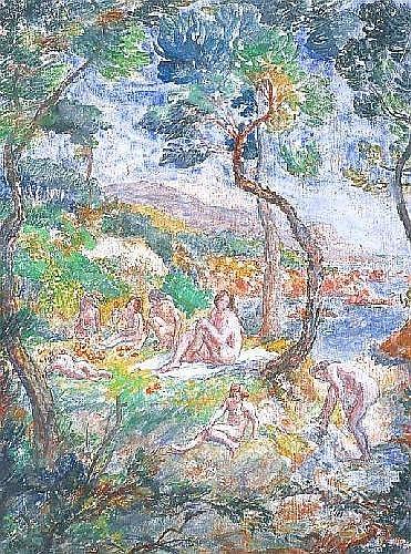 CHAPUIS Pierre (1863-1942) LES BAIGNEUSES Gouaches