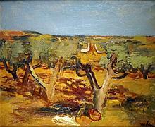 Maurice SAVIN – 1894-1973 LES OLIVIERS, 1939 Huile sur toile signée e