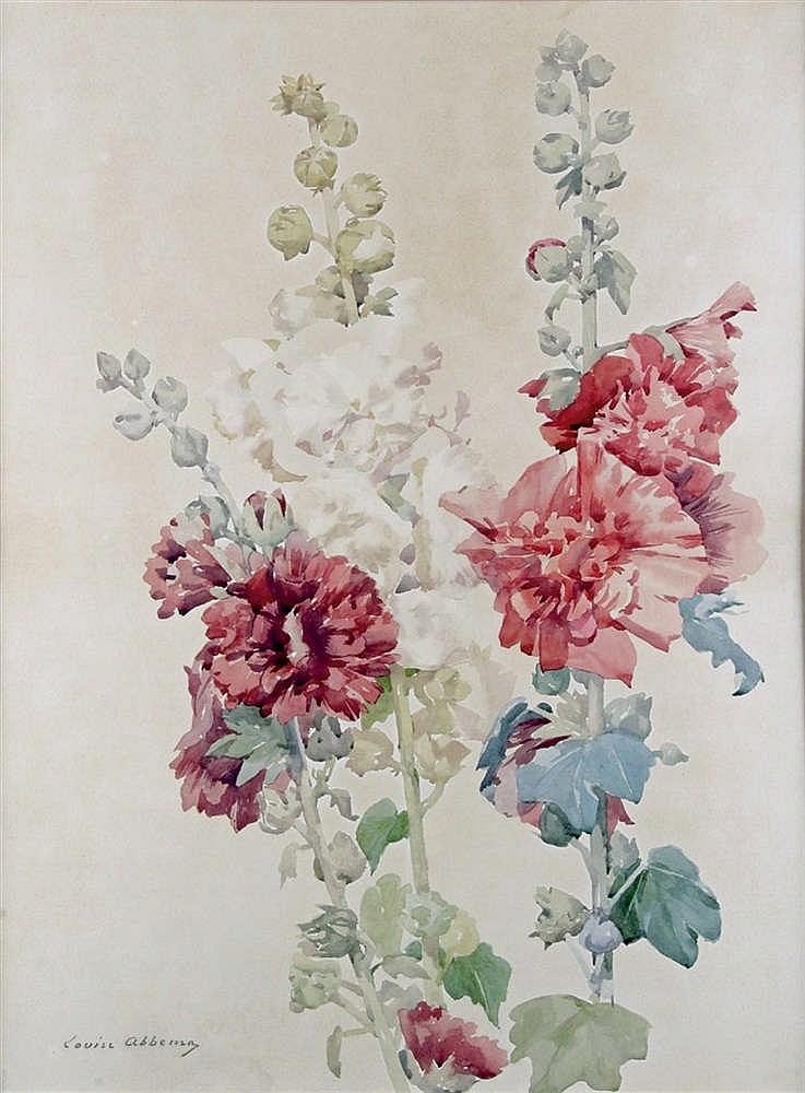 louis abbema 1858 1827 les roses tr mi res aquarelle sign. Black Bedroom Furniture Sets. Home Design Ideas