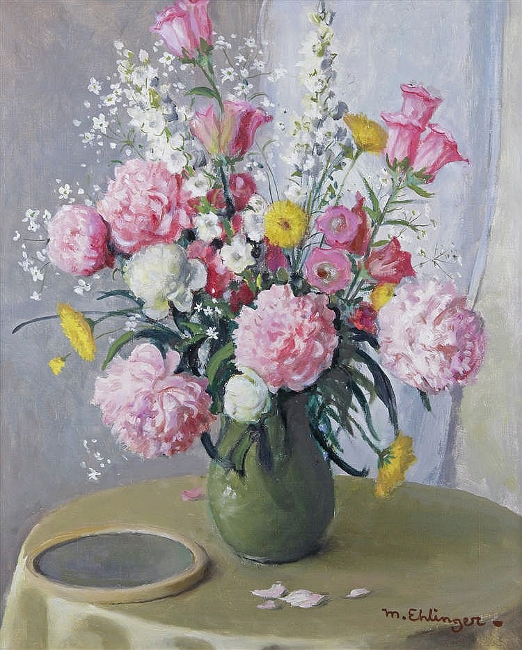 maurice ehlinger 1896 1981 vase de pivoines 1981 huile su. Black Bedroom Furniture Sets. Home Design Ideas