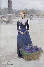 Victor GILBERT   1847-1935   PARIS, LA MARCHANDE DE VIOLETTES PLACE DE LA