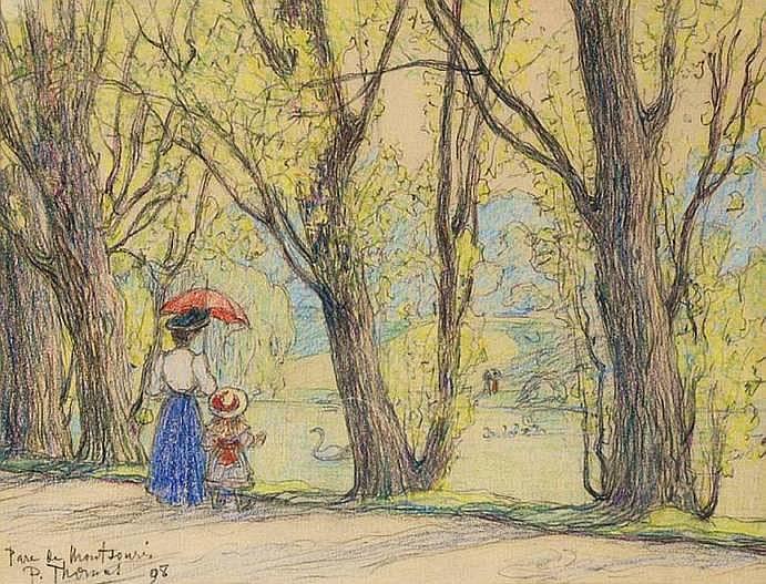 THOMAS Paul 1860-1910 PARIS, LE PARC MONTSOURIS