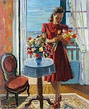 Roger WORMS-1907-1980 JEUNE FEMME CONFECTIONNANT