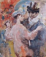 Georges BOUISSET-1903-1965 LE BAL. Huile sur toile