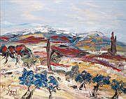 Jean SARDI - né en 1947 LE MAS BLEU Huile sur