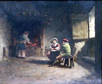 Camillo INNOCENTI-1871-1961 Les joueurs de cartes