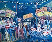 Roland DUBUC - 1924-1998 LES CHEVAUX DE BOIS Huile