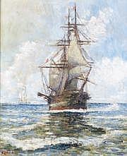 Fernand LAVAL - 1886-1966 LE VOILIER EN MER Huile