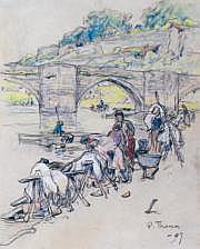 Paul THOMAS - 1868-1916 LES LAVANDIÈRES PRÈS DU