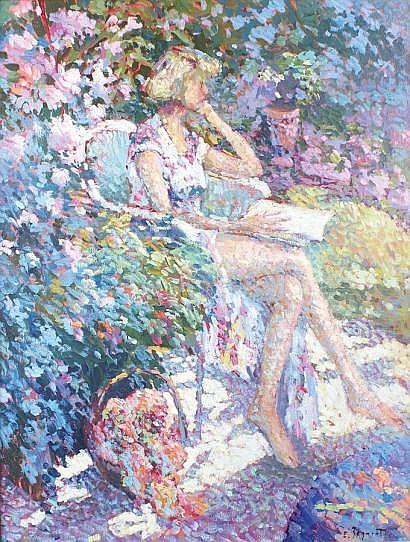 Eugène BEGARAT - né en 1943 JEUNE FEMME LISANT