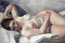Charles KVAPIL – 1884-1957 NU ALLONGÉ, 1927 Huile sur toile signée et
