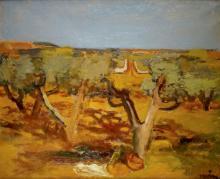Maurice SAVIN – 1894-1973 LES OLIVIERS, 1939 Huile sur toile signée en b