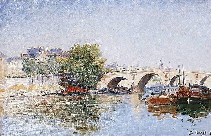 NARDI François 1861-1936 PARIS, LA SEINE AU PONT