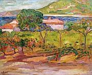 Jean PESKE - 1870-1949 RIVAGE MÉDITERRANÉEN Huile