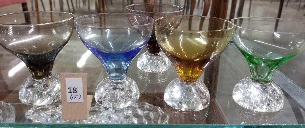 MID-CENTURY 3 OZ. WINES W/ CONTROLLED BUBBLE BASE - SET OF 5